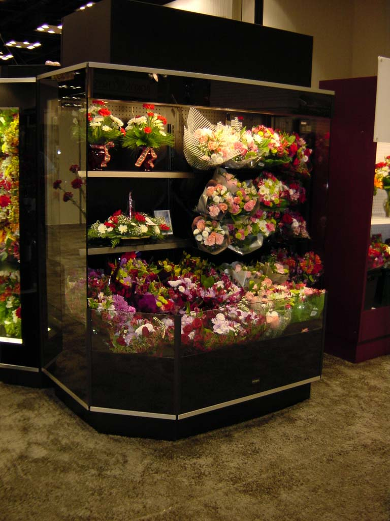 Round Front Open Floral Display Cases - Borgen Systems